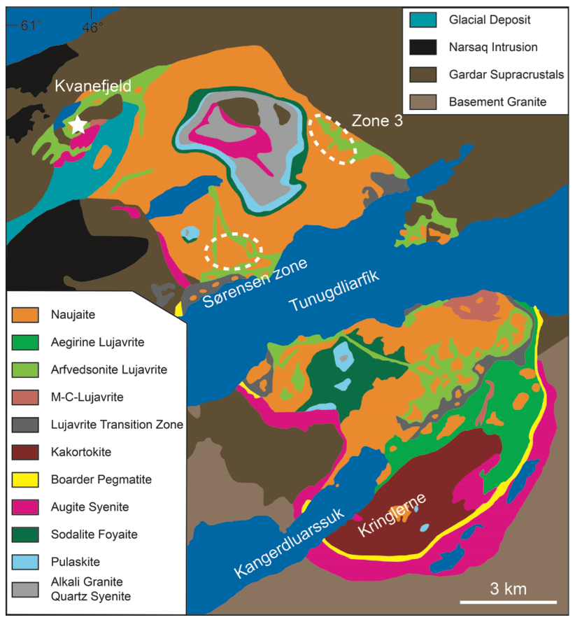 Map of the Ilimaussaq complex from Friis (2015) British Columbia Geol. Surv. 2015-3