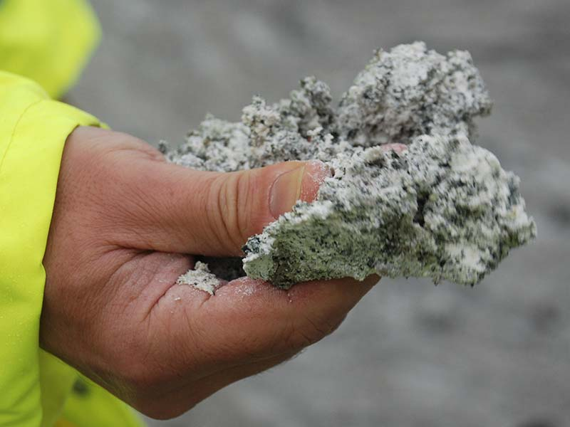Kaolinised granite is incredibly soft and can be squashed by hand. Littlejohn china clay pit.