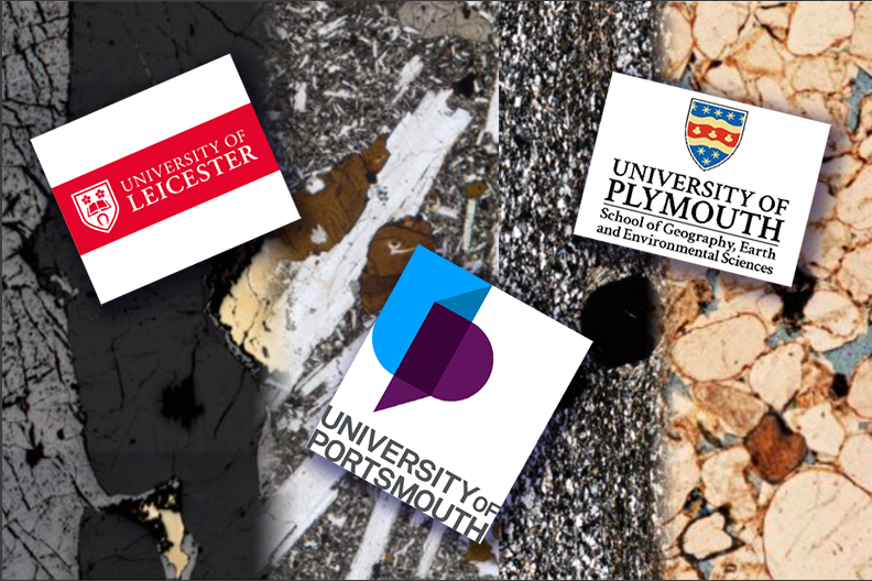 logos for Leicester, Plymouth and Portsmouth universities on a background of several virtual microscope images