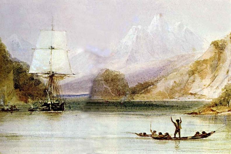 Watercolour of Darwin's sip, The Beagle, in Tierra del Fuego